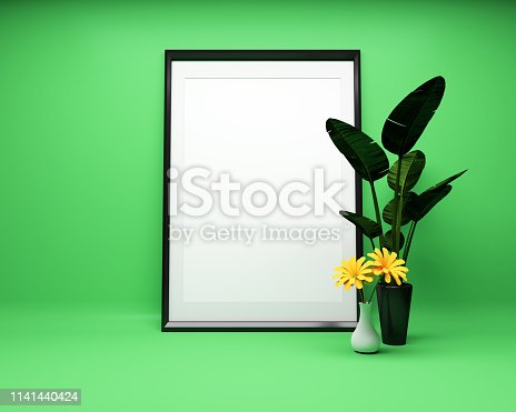 1141440440 istock photo White picture frame background with plant Mock up. 3D rendering 1141440424
