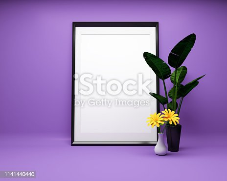 1141440440 istock photo White picture frame background with plant Mock up. 3D rendering 1141440440