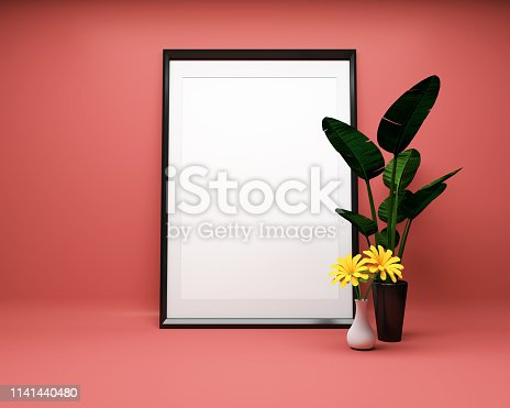 1141440440 istock photo White picture frame background with plant Mock up. 3D rendering 1141440480