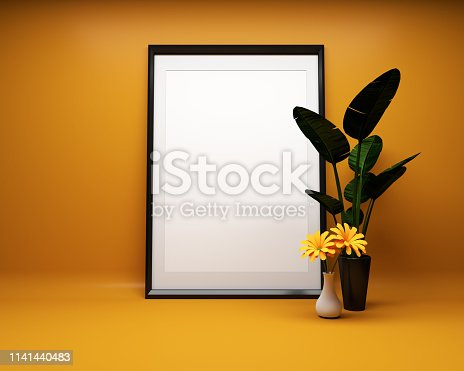 1141440440 istock photo White picture frame background with plant Mock up. 3D rendering 1141440483