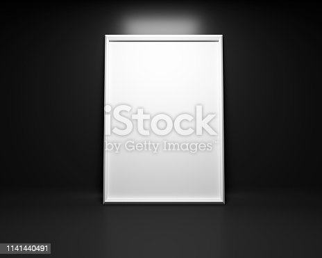 istock White picture frame background with plant Mock up. 3D rendering 1141440491