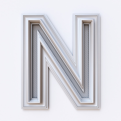 istock White picture frame font Letter N 3D 1028452544