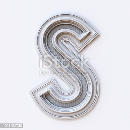White picture frame font Letter S 3D rendering illustration isolated on white background
