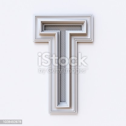 583978622 istock photo White picture frame font Letter T 3D 1028452678