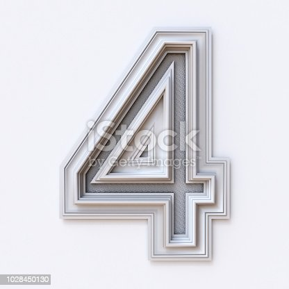 istock White picture frame font Number 4 FOUR 3D 1028450130