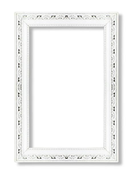 weißen bilderrahmen isoliert auf weißem hintergrund - wandspiegel weiß stock-fotos und bilder