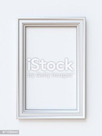istock White picture frame rectangular 3D 971035542