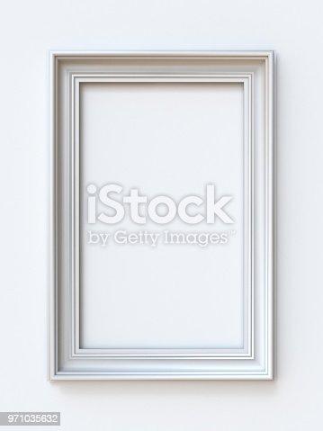 istock White picture frame rectangular 3D 971035632