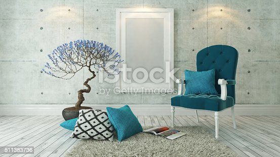 istock white picture frames with blue bergere 511383736