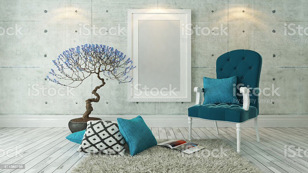 white picture frames with blue bergere stock photo