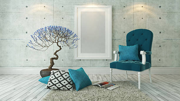 weißen bilderrahmen mit blauen bergère - zeitschrift wandkunst stock-fotos und bilder