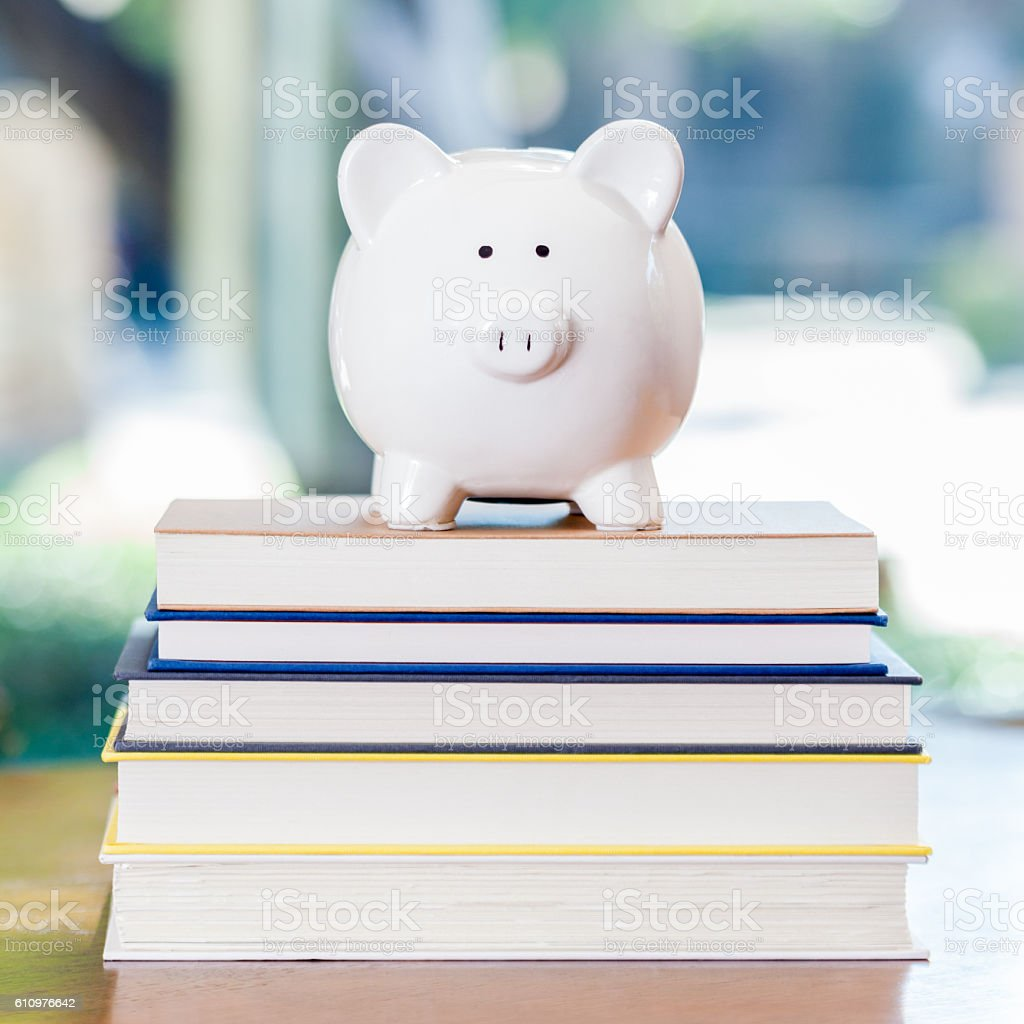 White piggy bank on top of stack of books stock photo