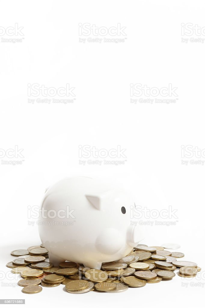 White piggy bank stock photo