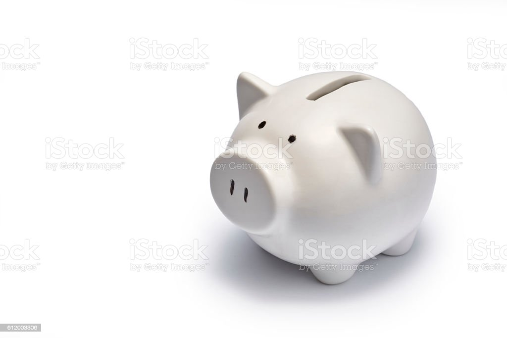White piggy bank stock photo
