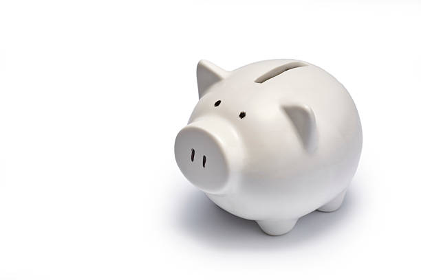 white piggy bank - piggy bank stock photos and pictures