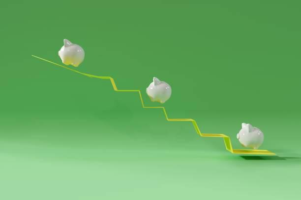 White Piggy Bank mit Münze Jump on Arrow Up. auf grünem Hintergrund. Minimales Ideen-Geschäftskonzept. 3D-Rendern. – Foto