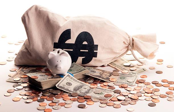 Weiße Sparschwein mit Geld – Foto