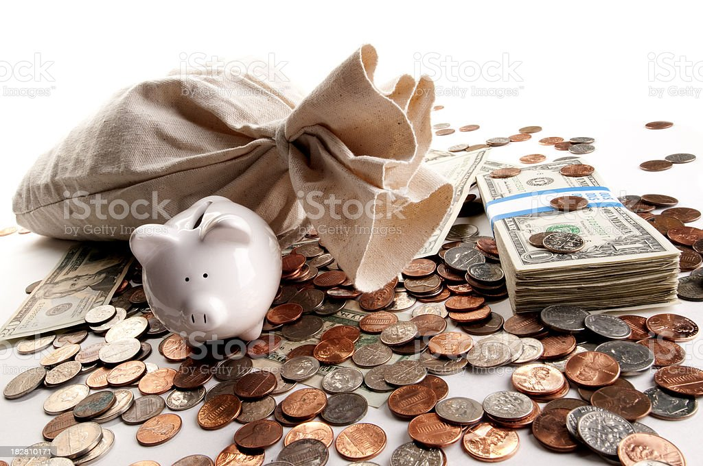 White Piggy Bank with Money royalty-free stock photo