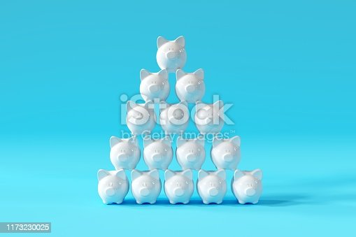 istock White Piggy Banks Stand with group on blue background. minima concept ideas. 3D render. 1173230025