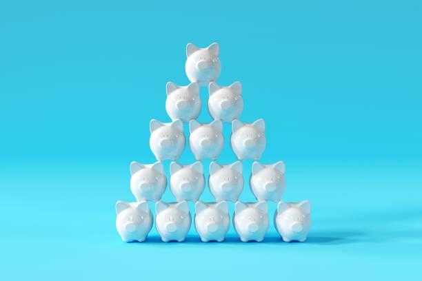 Weiße Piggy Banks stehen mit Gruppe auf blauem Hintergrund. minima Konzeptideen. 3D-Rendern. – Foto