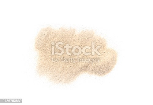 istock White Pile of Sand isolated on white Background, real Maldives Sand as Texture or Background 1186750832