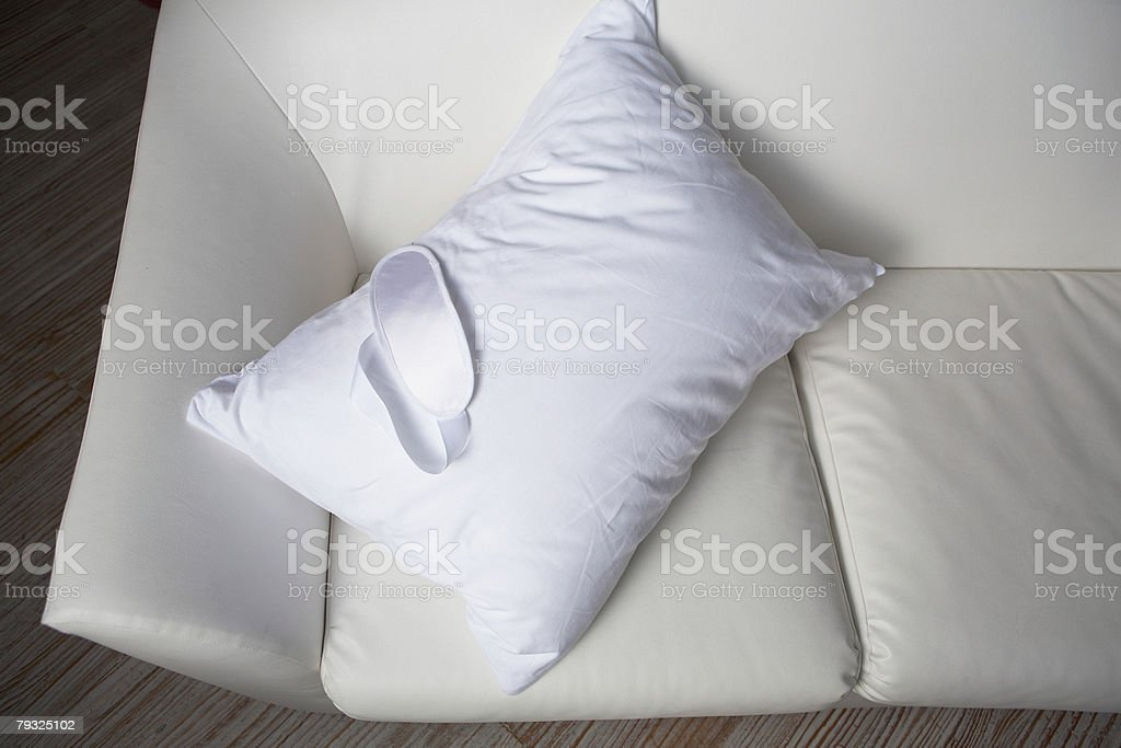 White pillow and sofa royalty-free 스톡 사진