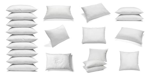 white pillow bedding sleep - подушка стоковые фото и изображения