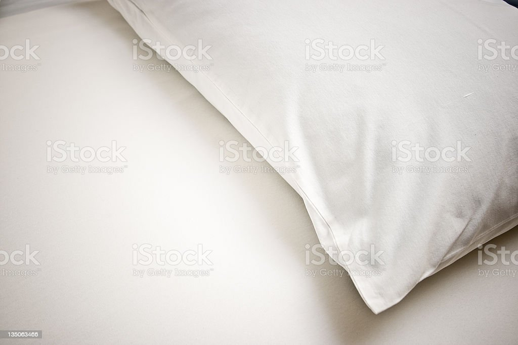 White Pillow Empty Bed royalty-free stock photo