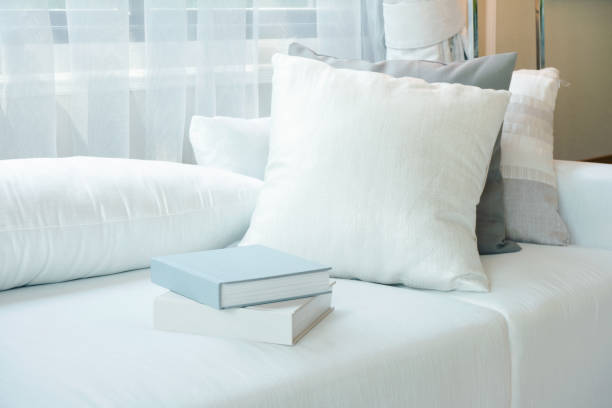 White pillows and books setting on white sofa in modern living room stock photo