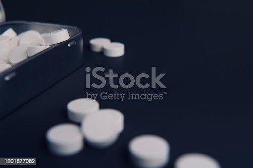 1092248526 istock photo White pills and metal tin 1201877082