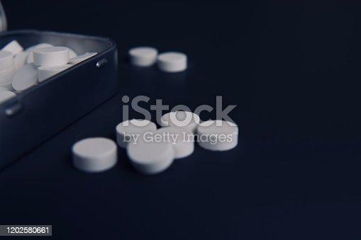 1092248526 istock photo White pills and metal tin 1202580661
