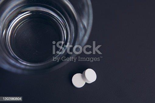 1092248526 istock photo White pills and water 1202580504