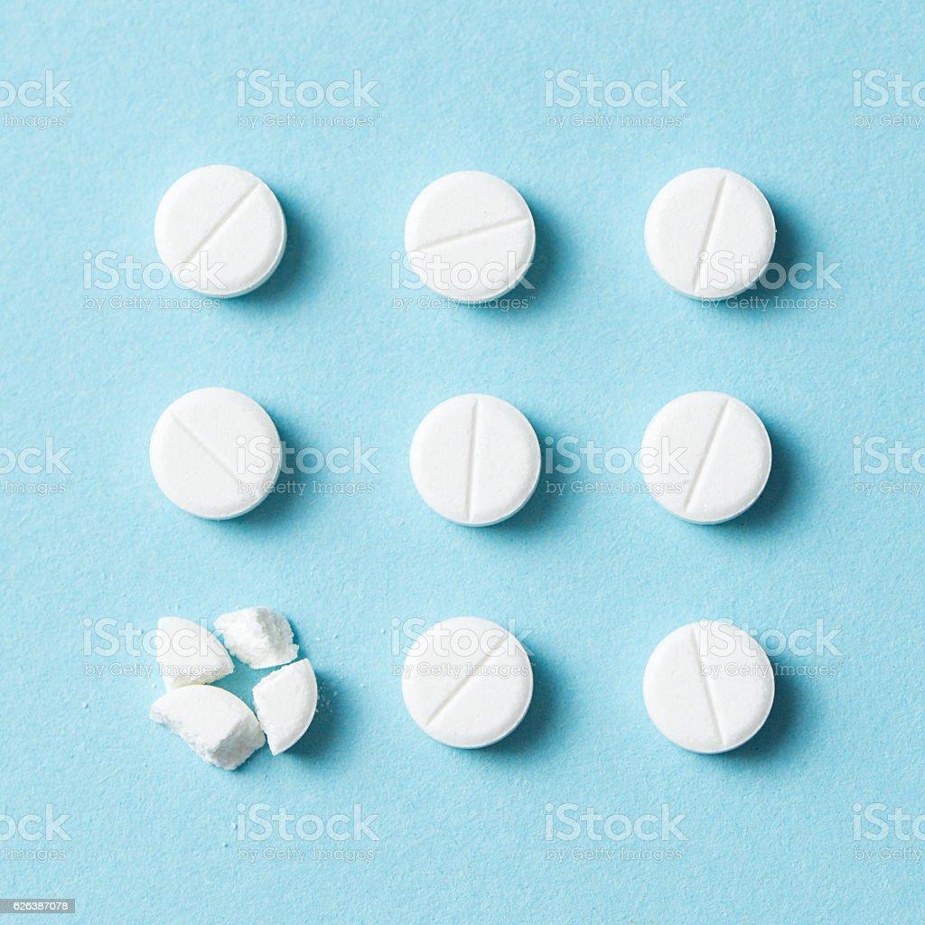 White pills or medicine stock photo