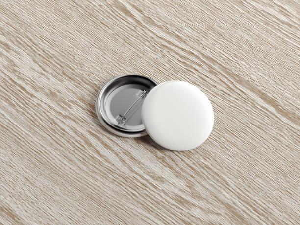 木製の背景、3 d レンダリングの白いピン ボタン。 ストックフォト