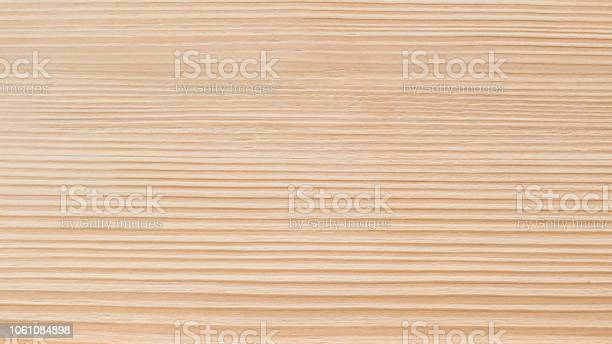 Photo of White pine wood grain texture background for Scandinavian wooden design interior backdrop and furniture in beige color
