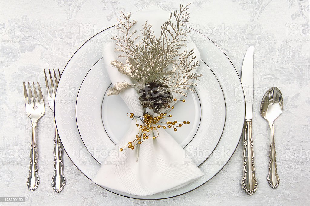 white place setting stock photo