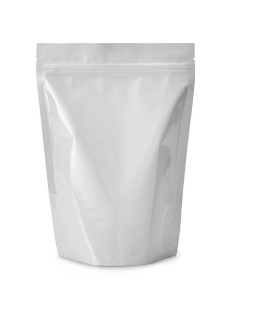 white plasic bag isolated on white - packaging foto e immagini stock
