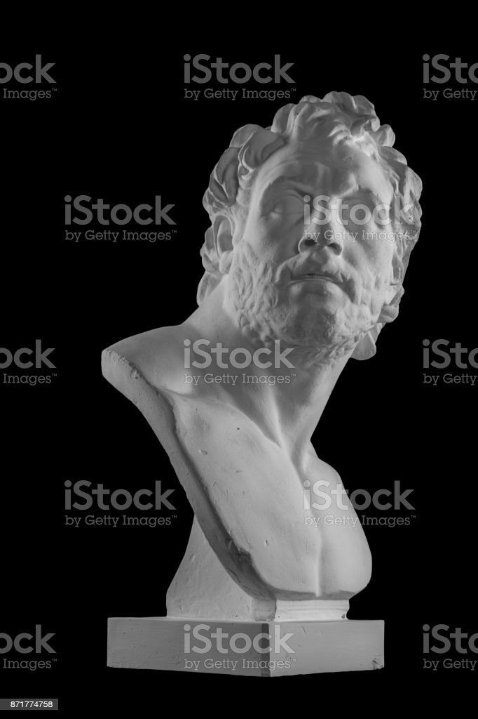 Portrait de sculpture buste d'un homme en plâtre blanc - Photo