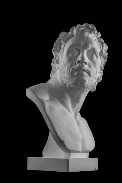 white plaster bust sculpture portrait of a man - roman stock photos and pictures