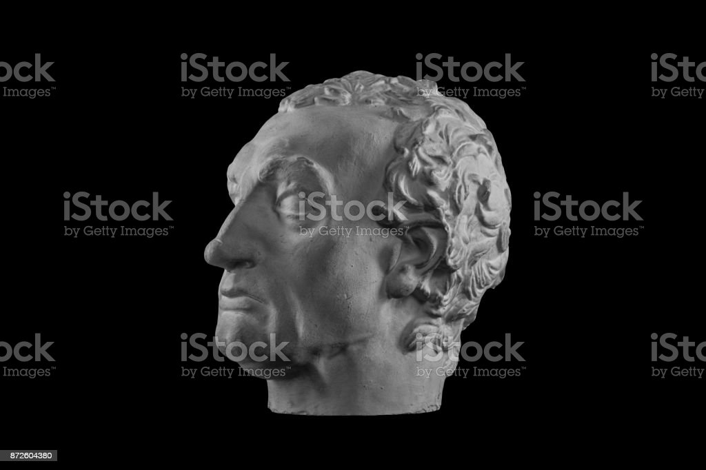 White plaster bust sculpture portrait of a man stock photo