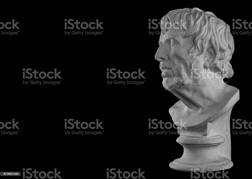 White plaster bust sculpture portrait of a old man stock photo