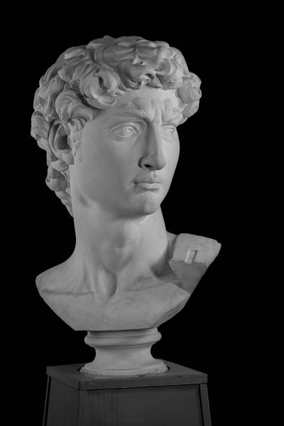 white plaster bust sculpture portrait of a young man - statua foto e immagini stock