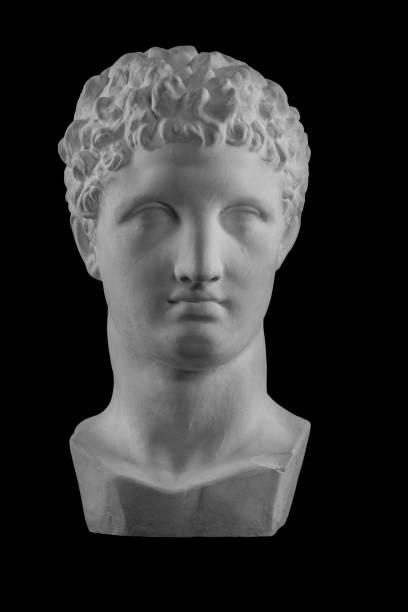 White plaster bust sculpture portrait of the men Hermes stock photo