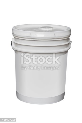 white plastic 5 gallon bucket with blank label,isolated on white with clipping path