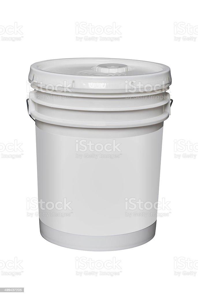 white plastic 5 gallon bucket, isolated stock photo