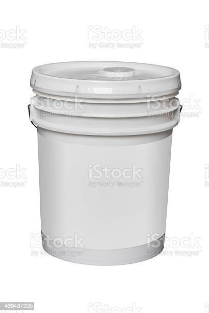 White Plastic 5 Gallon Bucket Isolated Stockfoto en meer beelden van Container