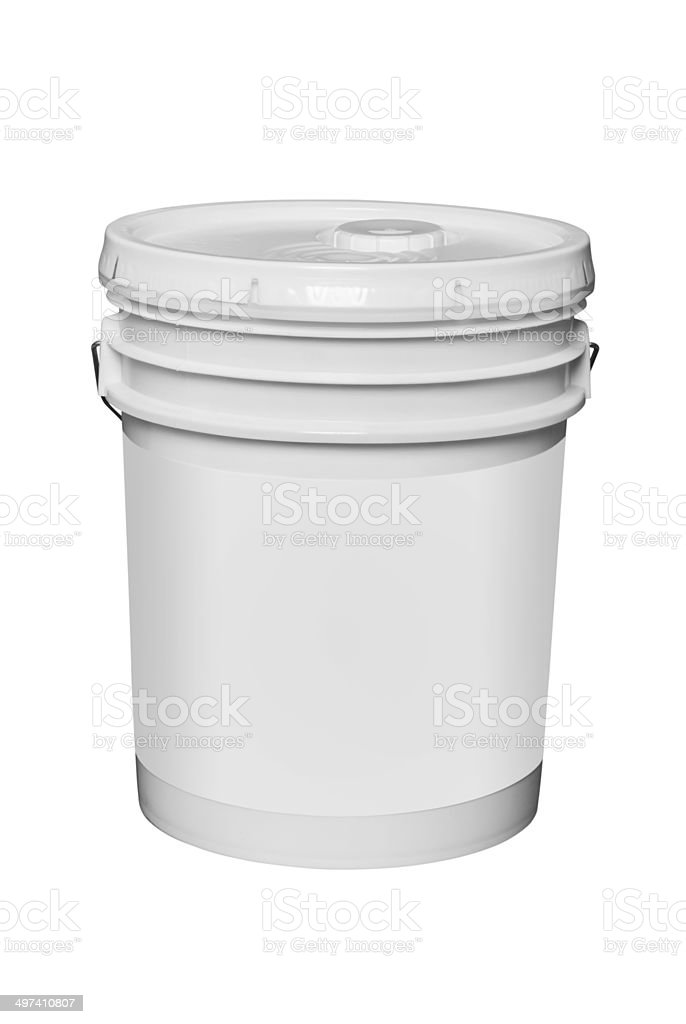 White plastic 5 gallon paint container, isolated stock photo