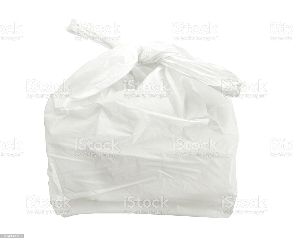 white plastic bag isolated on white background with clipping path stock photo