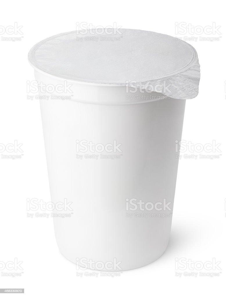 White plastic bin with a white bin liner stock photo