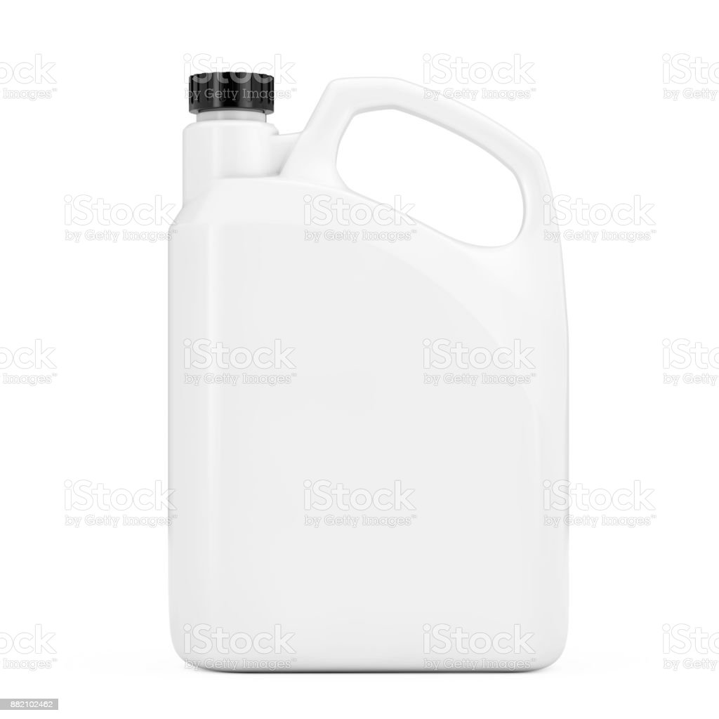 White Plastic Blank Container Canister with Blank Space for Yours Design. 3d Rendering stock photo